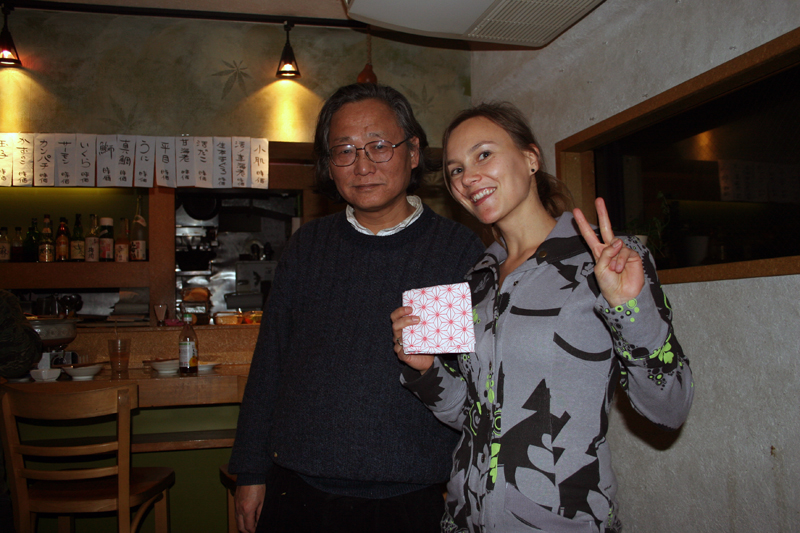 Koichi Maeda, and me holding the first hemp patterned cloth a baby wears when being born